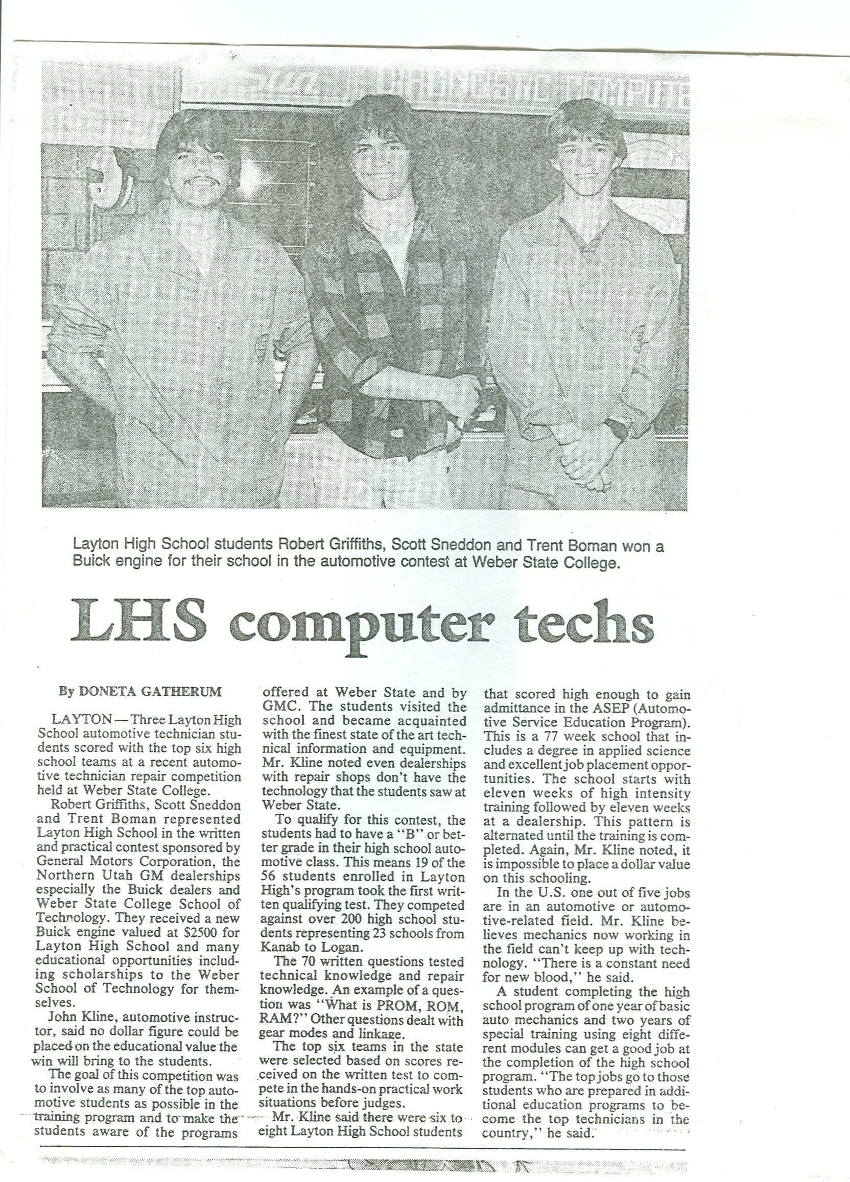 LHS computer techs newspaper article