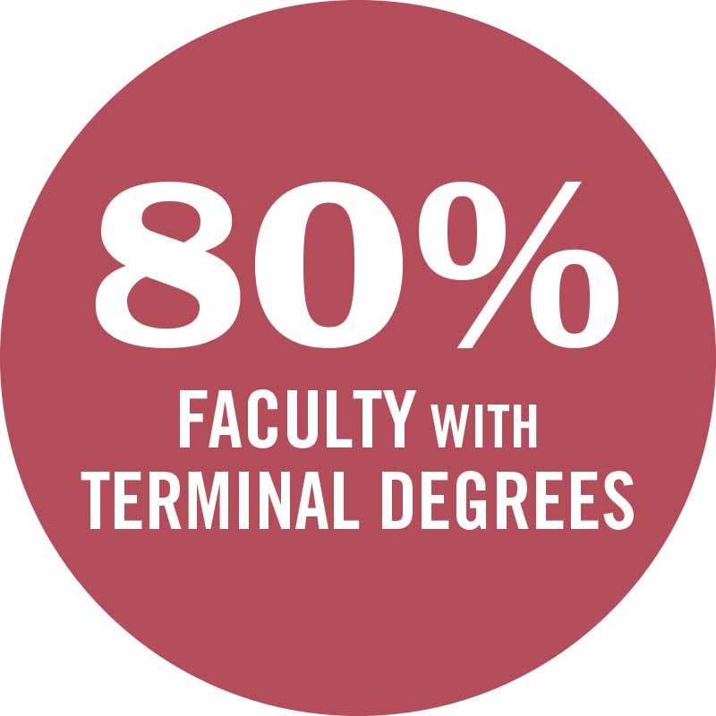 80 percent of faculty have terminal degrees.