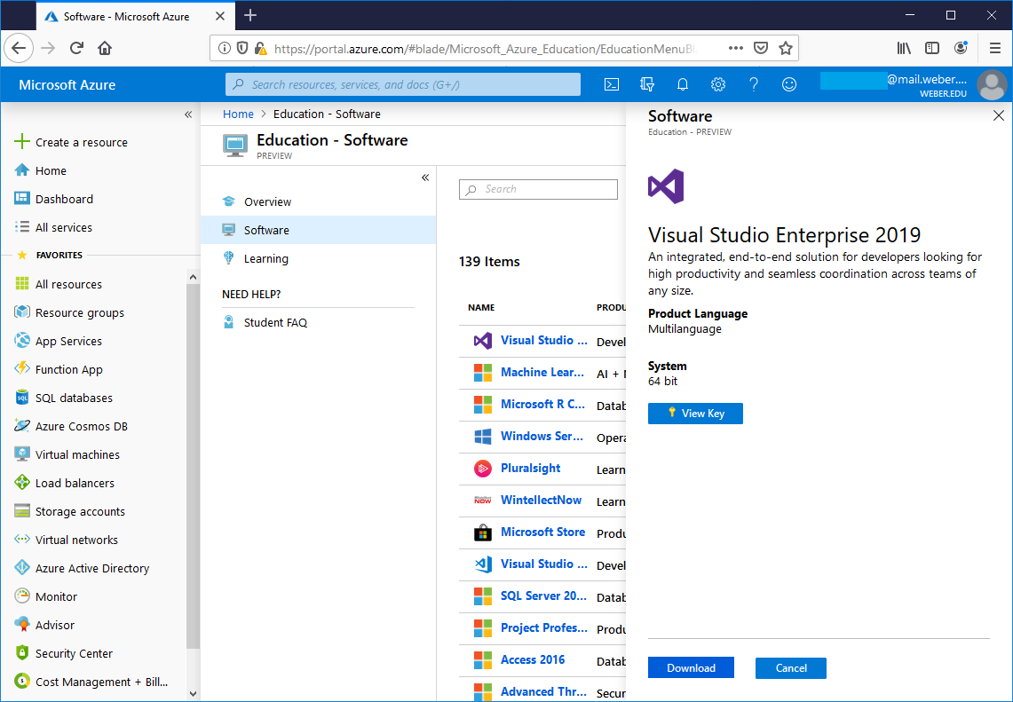 screenshot of visual studio options