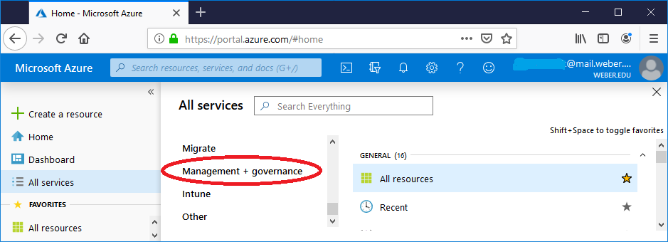 screenshot showing to click in management + governance