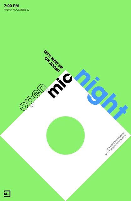 Logo for Meta-ROAR open mic on a neon green background