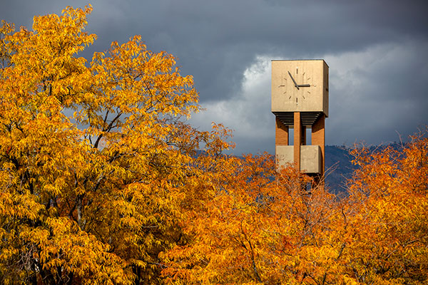 clock tower and fall leaves