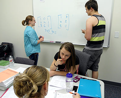 students participating in tutoring