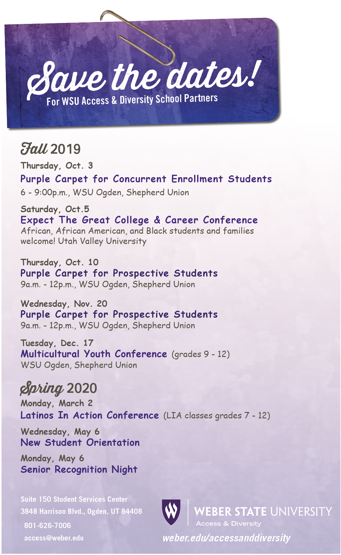 Save the Dates For WSU Access & Diversity School Partners