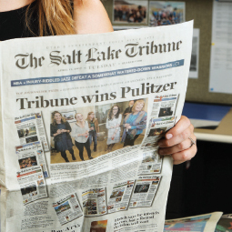 Front page of the Salt Lake Tribune newspaper announcing the publication winning the Pulitzer prize