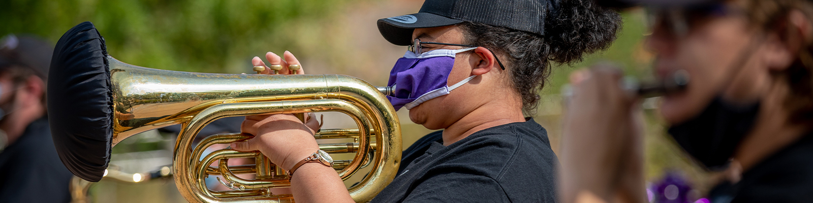 A student plays in Weber State's pep band.