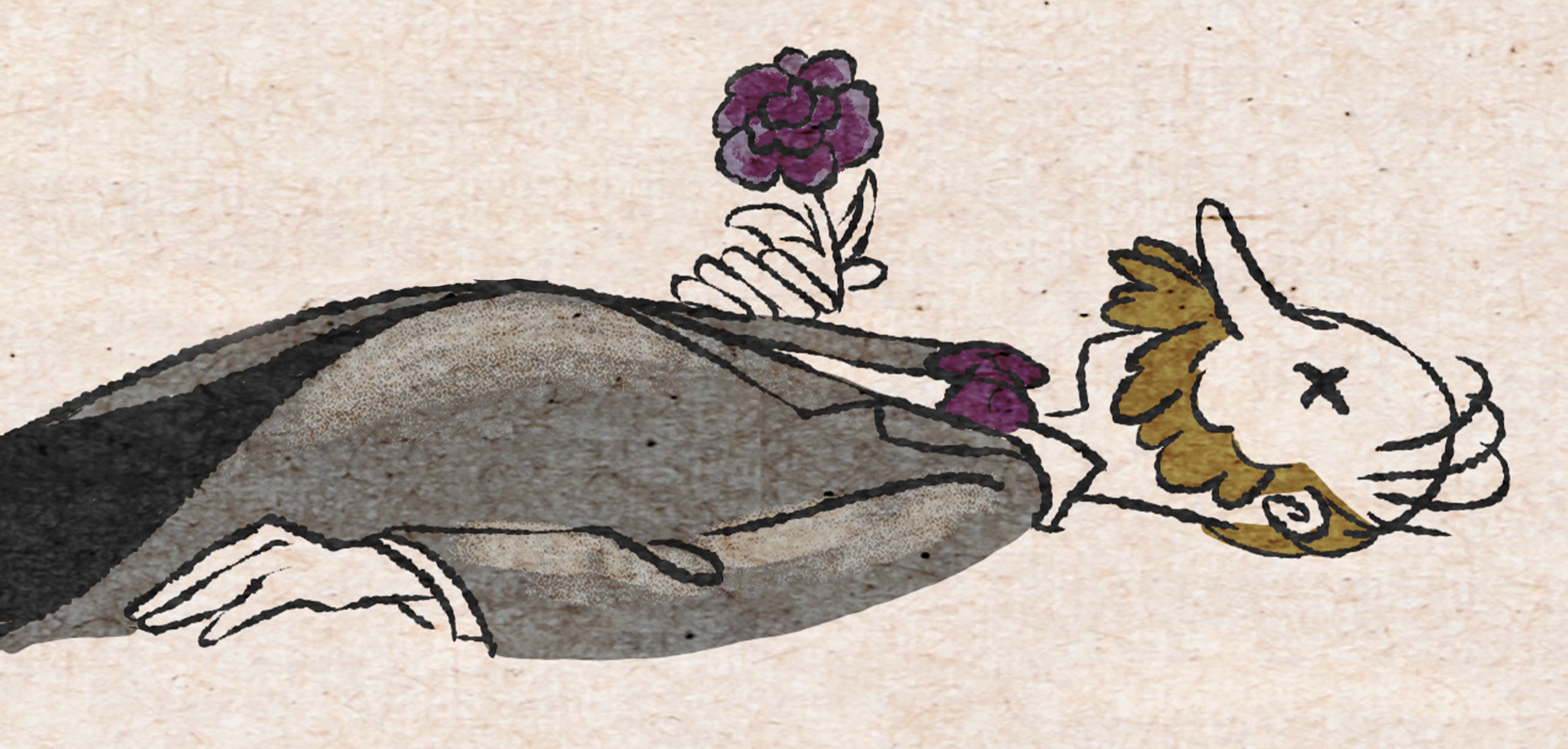 An illustrated depiction of a corpse
