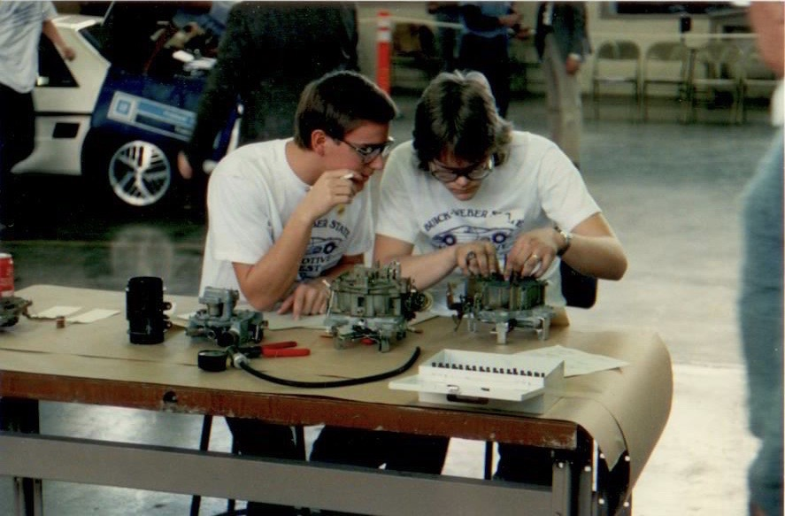 1987 photo of two students working together
