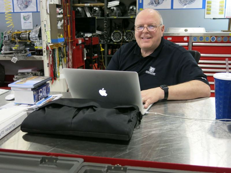 John D. Kelly in the TE-218 Shop