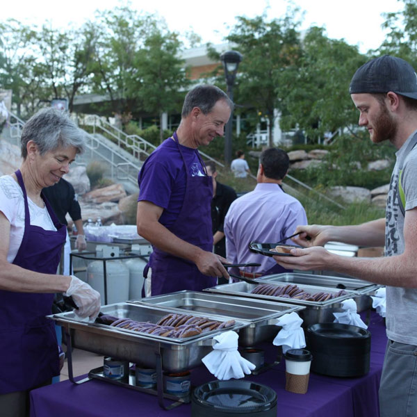 purple pancake breakfast