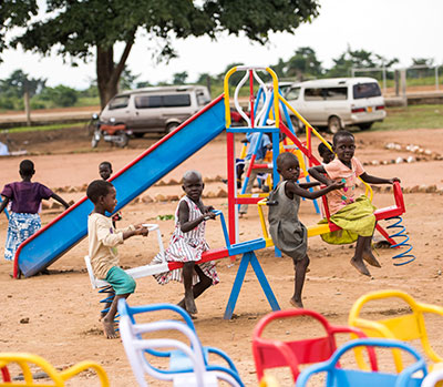 kids playing on playground