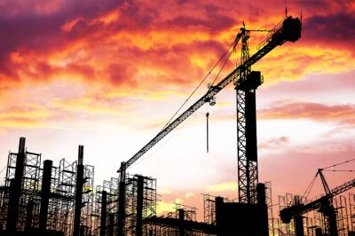 buildings being built at a construction site