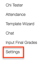 course settings can be found at the end of your course navigation page