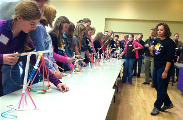 Celeste Baine (right), of Springfield, Ore., conducts the sixth annual Parent-Daughter Engineering Day on Saturday, Nov. 15, at Weber State University in Ogden.