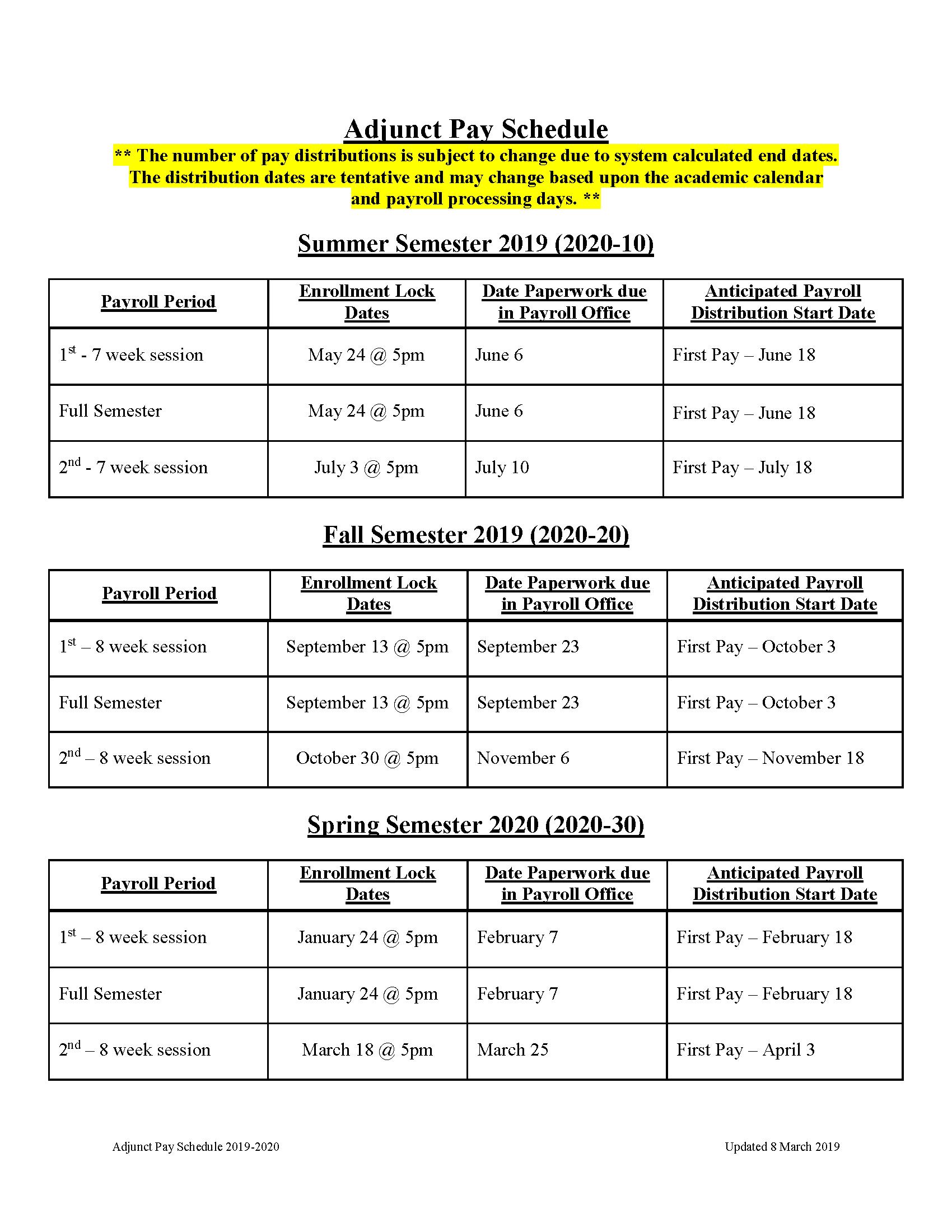 Payday Calendar 2020 Payroll Schedules