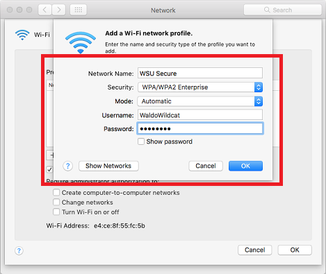WSU Secure Setup for Mac OS X