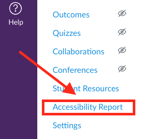 the accessibility report link above course settings in a Canvas course