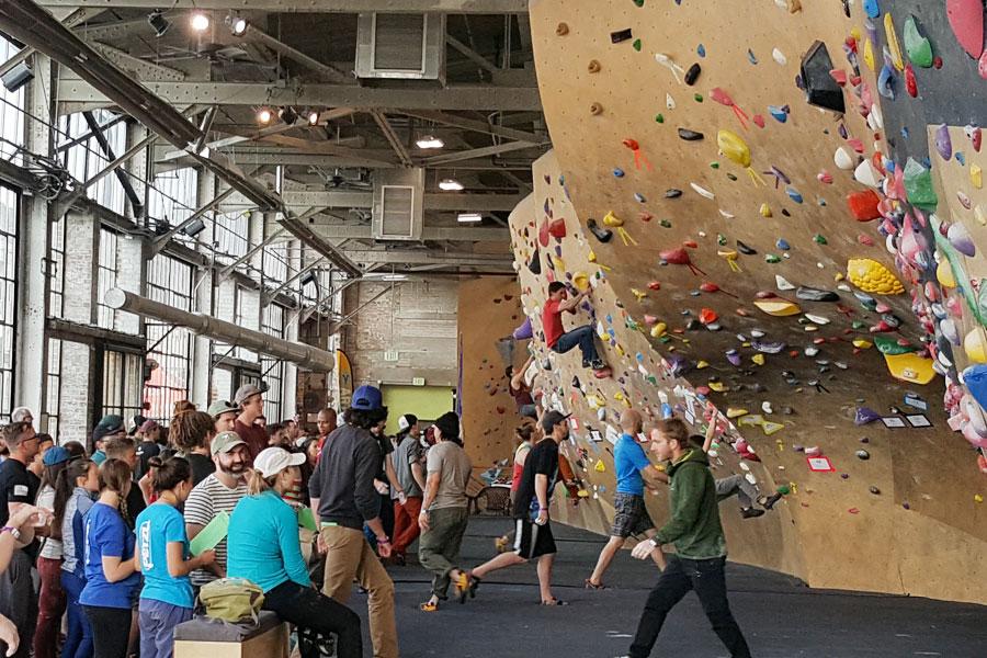 community at climbing wall