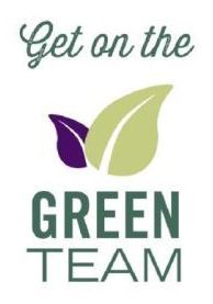 """Get on the Green Team"" logo with small purple leaf half behind a large light green leaf."