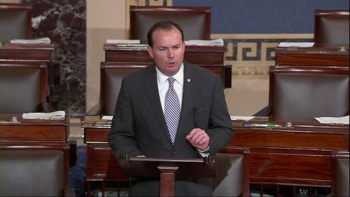 Mike Lee speaking at the Senate (SOURCE: The Washington Post)