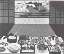 """""""April 26, 1942"""" black and white image of typical Japanese American meal set on low table."""