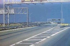 oil painting showing road signs and interstate interchange, empty of cars.