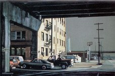 oil painting showing cars and pickup parked underneath a high overpass.