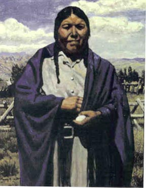 Oil painting showing an native American woman wearing a blue shawl, holding an egg in her left hand.