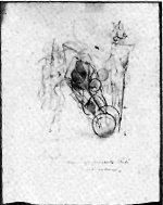 Figure 3: Marcel Duchamp, 2 Personages and a Car (Study), 1912, charcoal on paper.