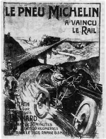 Figure 4: E. Montaut, Le Pneu Michelin a vaincu le rail, lithograph.