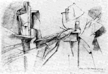 Figure 6: Marcel Duchamp, The King and Queen Traversed by Swift Nudes, 1912, pencil on paper.