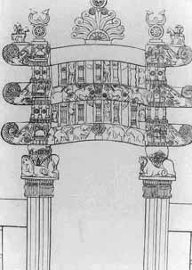 Black and white drawing of a decorative Indian gateway.