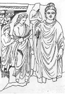 Ink drawing of Buddha and his disciples.  Drawing made from a relief stone carving.