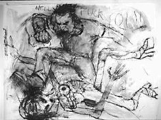 drawing of an angry man fighting and kicking an alien.