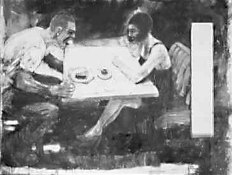 picture of a man angrily shouting at a woman, both seated at a booth in a restaurant.