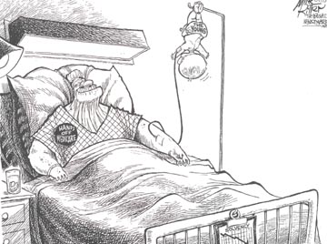 "Cartoon by Mike Ritter depicting an elderly person in a hospital bed with a button pinned to his gown reading ""hands off medicare.""  Into his left arm feeds an I V drip, with a baby instead of a bag of medicine feeding the tube."