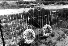 A photo of wreaths which adorn a gate at a cemetary.