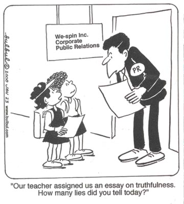 Two school children interview a public relations person at the firm of We Spin, Inc. for an essay on truthfulness, asking, how many lies did you tell today?