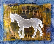 """H is for the Hindered Horse,"" Mixed Media Painting, 27"" x 33"""