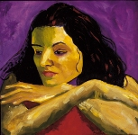"""Sandra Cisneros,"" Oil Painting, 20"" x 20"", Chicana Writer Series"