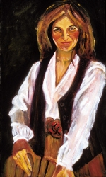 """Carmen Tafolla,"" Oil Painting, 20"" x 36"" Chicana Writer Series."