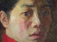 "Painting, detail, ""Girl with Red Sweater,"" 1999, 55 cm x 155 cm"