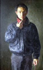 """Painting, detail, """"Self Portrait,"""" 1999, 55 cm x 155 cm"""