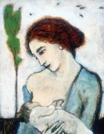 "Mother and Child with Sparrow, 1999, oil on paper, 19"" x 15"""