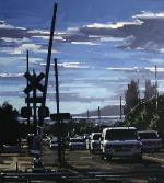 "Doug Braithwaite; Railroad Crossing, Oil, 16"" x 14"""