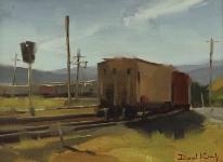 """David Koch; Bend in the Tracks, Oil, 9"""" x 12"""""""
