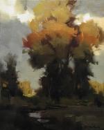 "David Koch; Climbing Shadows, Oil, 20"" x 16"""