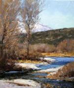 """John Hughes; Springtime Along the Provo, Oil, 12"""" x 10"""""""
