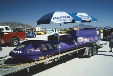 Racers at the Bonneville Salt Flats in Utah.