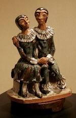 "Pierrot y Colombina, 1989, stoneware clay, 20"" x 16"""